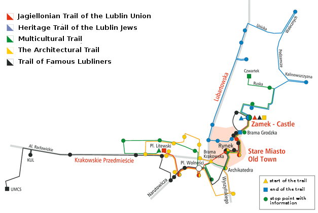 Tourist trails in Lublin